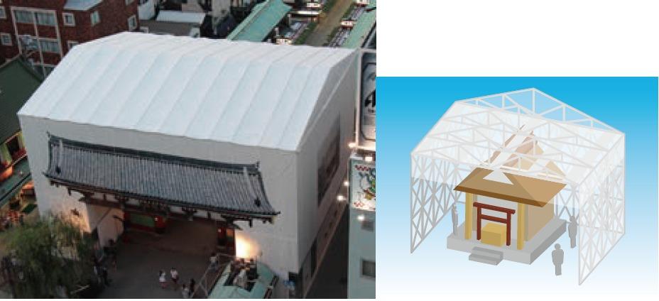 全天候型仮設屋根「簡易屋根トラス」
